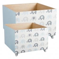 """Juego 2 cajas multiusos con ruedas infantil """"ELEFANTES"""""""