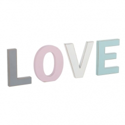 Letras madera decorativas romanticas love color.