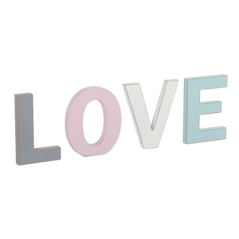 Letras madera decorativas romanticas love color - Letras decorativas madera ...