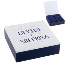 "Caja TÉ 9 departamento madera ""SABOREA LA VIDA"""