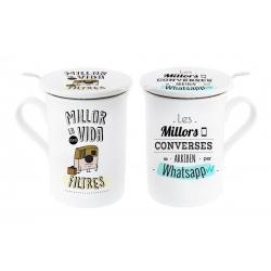 Tazas con filtro y tapa diseño original frases catala whatsapp (Set de 2 tazas)