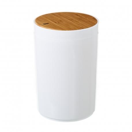 Papelera blanco poliestireno tapa de bambú. capacidad de 5 litros.