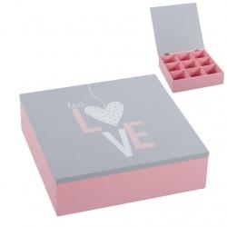 "Caja TÉ 9 departamento madera ""TEA LOVE""."