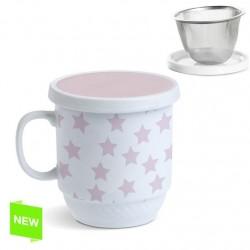 Taza con filtro estrella rosa