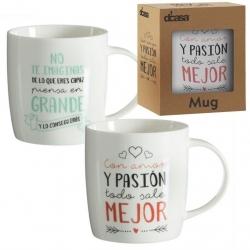 Tazas diseño original frases positivas (Grande+Pasion) Set de 2 mug