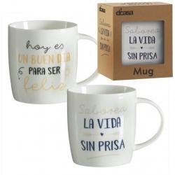 Tazas diseño original frases positivas (Feliz+Sin prisa) Set de 2 mug