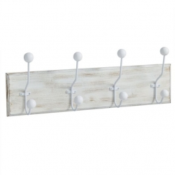 Perchero de pared madera 4 ganchos Medida: 50X7,5X12 CM