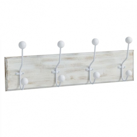 Perchero de pared madera 4 ganchos Medida: 50X7,5X12 CM