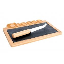 Tabla quesos set cuchillo bambu pizarra .
