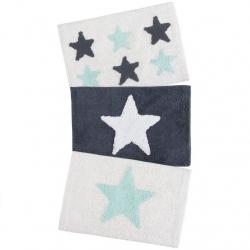 Juego de 3 alfombras multiuso diseño estrellas azul 40x60 cm .
