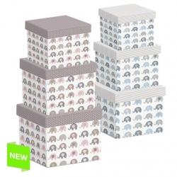 Juego 3 cajas regalo diseño infantil ELEFANTES .