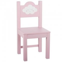 Silla de madera infantil nube rosa .