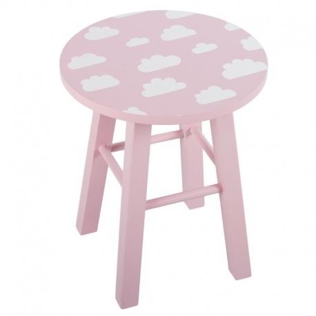 Taburete de madera infantil nube rosa .