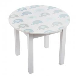 Mesa de madera infantil elefantes azules .