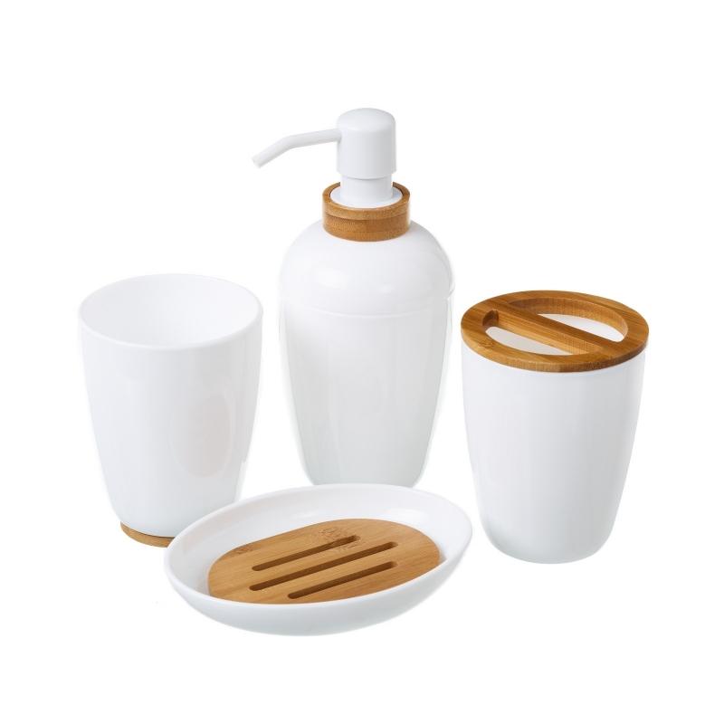 Set ba o 4 piezas blanco poliestireno acabados en bamb for Accesorios bano color blanco