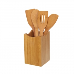 S/4 utensilios cocina bambú 11 x 11 x 32 cm .