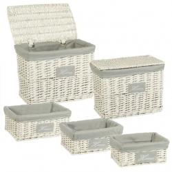 Juego de cestas multiusos románticas blanco de mimbre para baño France