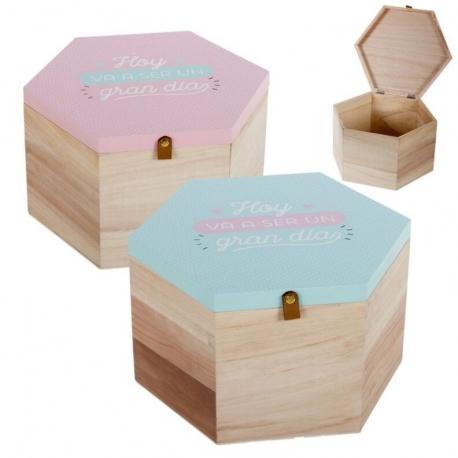 "Juego de 2 cajas madera frase ""GRAN DIA"" ."