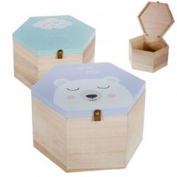 Juego de 2 cajas madera diseño Infantil Nube y oso !
