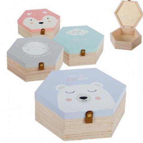 Juego de 4 cajas madera diseño Infantiles .
