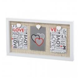 Portafotos con pinzas romantico para 3 fotos 10x15cm.