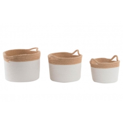 Set 3 cestas de algodon jute natural .