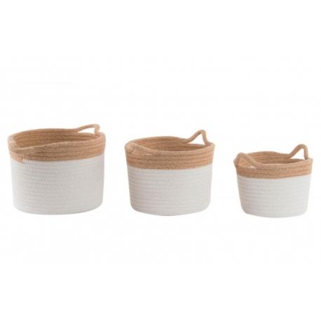 Set 3 cestas de algodon jute natural .