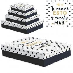 """Juego 4 cajas regalo diseño frase """"TE MERECES"""""""