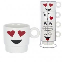 Tazas originales caras emoticonos apilables .