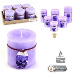 Caja 6 Vela cilíndrica perfumada lavanda 7 x 7 cm 208 grs- 32 horas combustión -2% perfume lavanda