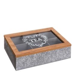 Caja de té nórdica gris de madera para cocina Factory