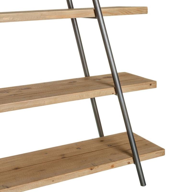 Estanter a de 4 baldas industrial marr n de madera - Estanterias de pared ...