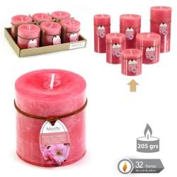 Caja 6 Vela cilíndrica perfumada coral 7 x 7 cm 208 grs- 32 horas combustión -2% perfume flor cerezo