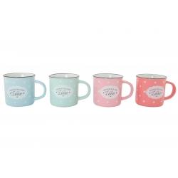 Tazas vintage ceramica 4 colores 220ml / Set de 4 tazas