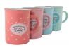 Tazas vintage ceramica 4 colores topos 300ml / Set de 4 tazas