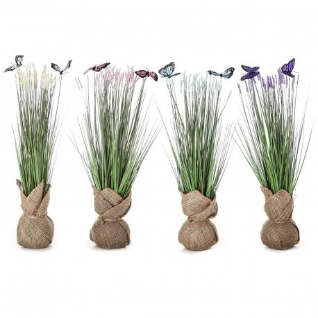 Pack 4 Plantas artificial poliester con mariposas con tela de saco.