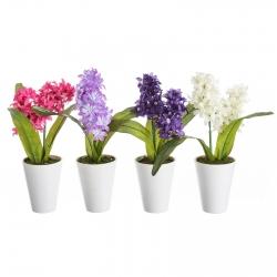 Pack 4 Plantas artificial jacinto poliester con maceta de plástico.