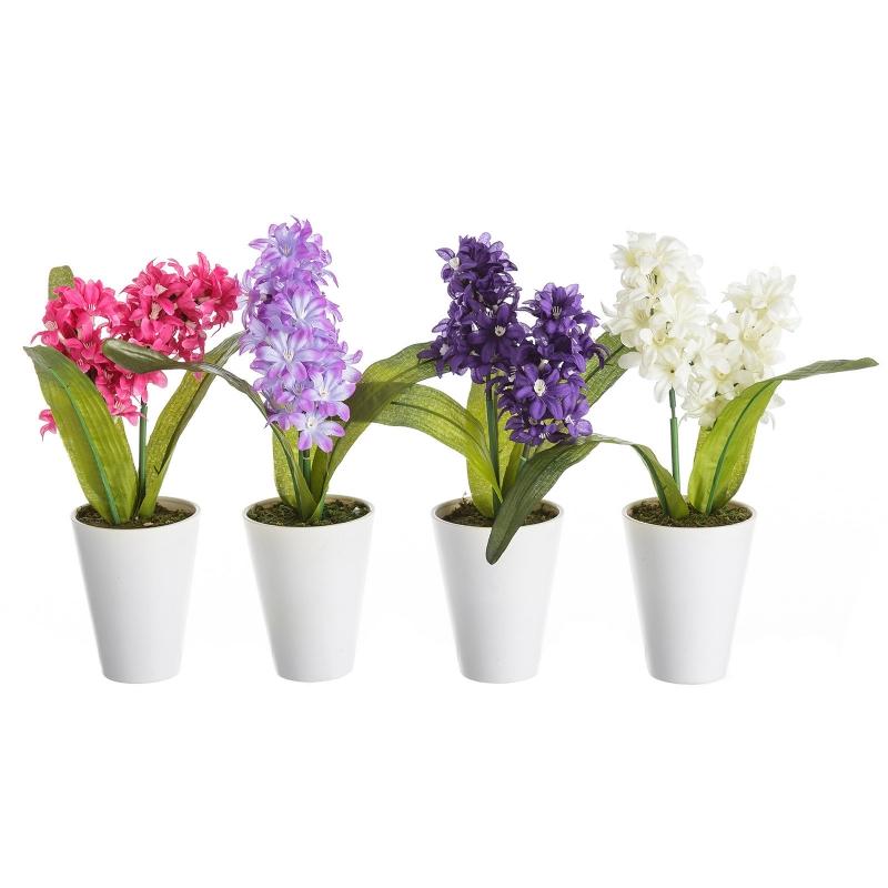 Pack 4 plantas artificial jacinto poliester con maceta de for Plantas en macetas