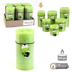 Caja 6 Vela cilíndrica perfumada verde 7 x 14 cm 420 grs- 75 horas combustión -2% perfume té verde