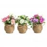 Pack 3 Plantas artificial rosa poliester con maceta de cuerda.
