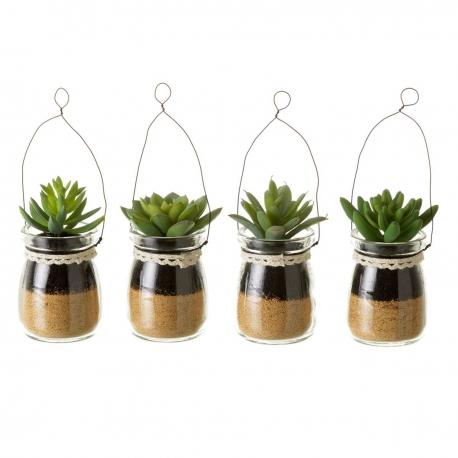 Pack 4 Cactus artificial 4/m plástico 5,50 x 5,50 x 10 cm maceta de cristal.