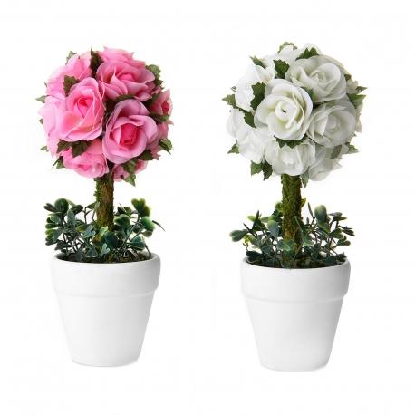 Pack 2 Plantas rosas 2/c poliester 20 cm en maceta de terracota.