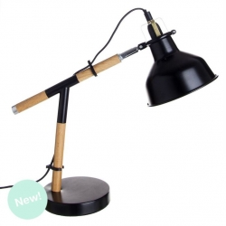 Lámpara escritorio nórdica negra industrial de madera para salón Factory .