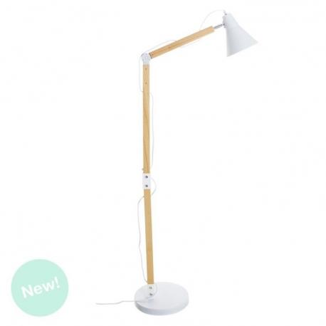 Lámpara de pie flexo nórdica blanco madera para salón vitta .