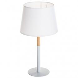 Lámpara de sobremesa alta nórdica blanca de madera .