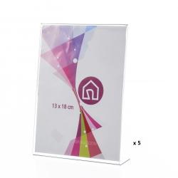 Pack 5 portafotos basicos poliestireno de 13x18 cm