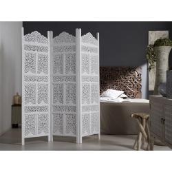 Separador plegable madera tallada blanca 150 x 180 .