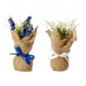 Pack 2 Plantas plástico en maceta tela de saco. blanco y azul.