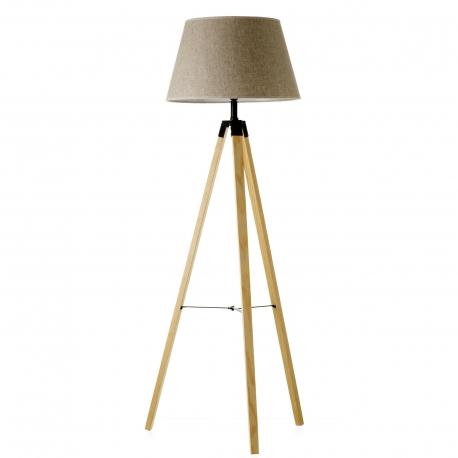 Lámpara de pie nórdica beige madera para salón Factory . |DCASA.ES