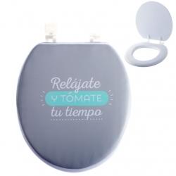 "Tapa universal WC blanda con mensaje original ""RELAJATE"" ."